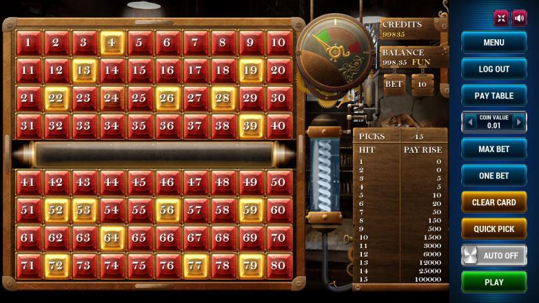 Изображение игрового автомата Keno Steampunk 15 2