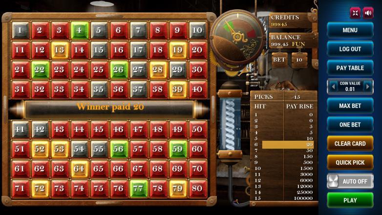 Изображение игрового автомата Keno Steampunk 15 3
